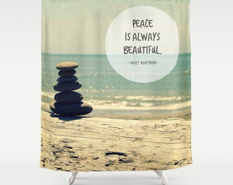 Fabric Shower Curtain - Beautiful Peace, Stacking Stones, PNW, Bathroom Decor, Nature Photography, With or without text