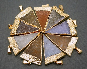 Druzy Druzzy Drusy Triangle Pendant Charm with 24k Gold Electroplated Edge (S1B7-08)