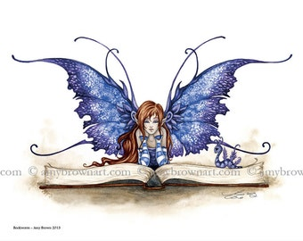 8X10 Bookworm fairy PRINT by Amy Brown