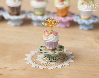 "Easter ""Showstopper MMTO -Cupcake (G) - Tree in Leaf, Butterfly, Blossom - Miniature Food in 12th Scale"