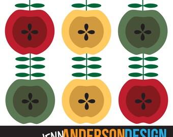 Scandinavian Apples Clip Art, instant download, digital printable