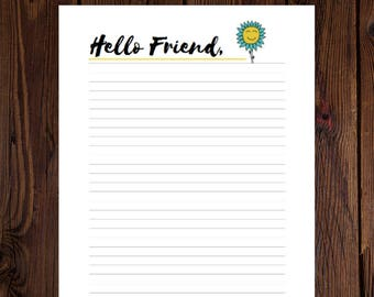 INSTANT DOWNLOAD: Hello Friend Flower Printable Stationery for fans of mail, Letter Writing, Writing Paper, Writing Sheets Digital Download