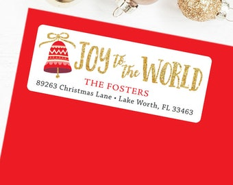 Christmas Address Labels - Joy to the World - Sheet of 30
