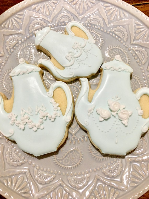 18 Classic French Tea Pot Cookies for High Tea Parties, Birthdays, Showers