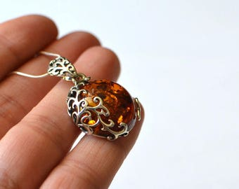 Baltic Amber Pendant, Cognac Amber Necklace, Amber Jewelry, Silver & Amber Necklace, Amber Gift