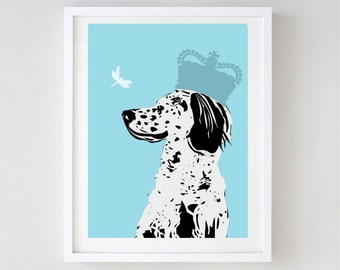English Setter Dog Art - Wall art, english setter print, Dog breed, setters, black and white