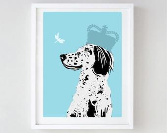 Art de chien Setter Anglais - art mural, setter anglais impression, race de chien, setters, noir et blanc