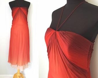 70s Carlo Pignatelli Designer Ruched Red Ombre Silk Chiffon Dress