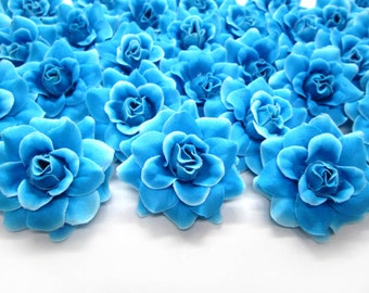 100 Blue Diamond mini Roses Heads - Artificial Silk Flower - 1.75 inches - Wholesale Lot - for Wedding Work, Make Hair clips, headbands