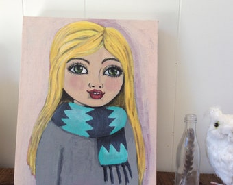 Joy , artist Carla Rose , girl in scarf , original art