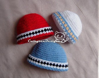 Beanie around with Checkers, Size New Born - Adult,INSTANT DOWNLOAD Crochet Tutorial e-Pattern