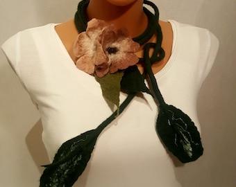 Elegant Femine Unique wet felted Necklace - Collar Belt