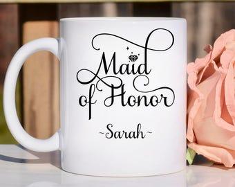 Maid of honor mug, bridal party gift, maid of honor mugs, maid of Honor custom mug, maid of honor gift, personalized maid of honor gift,
