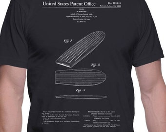 Surfboard Patent T-Shirt, Surfboard Shirt, Surfing Patent T Shirt, Surfer T-Shirt, Surfing Art Gift, Father's Day, Valentine, Birthday Gift