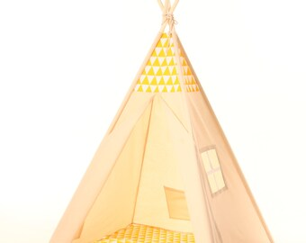 Kids Teepee Tent - Plain cotton indoor children's tipi with poles