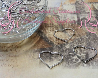 28mm x 22mm Silver Heart Jewelry Link 12pcs