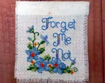 FORGET ME KNOT Counted Cross Stitch, Unframed, Completed Needlepoint, Wall Hanging,
