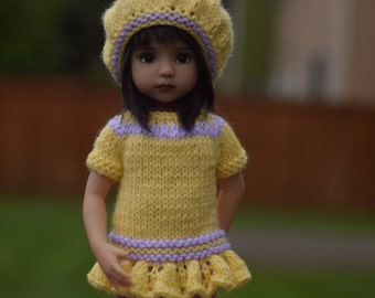 "12. Dress & Hat - PDF Knitting Pattern for Dianna Effner 13"" Little Darling Dolls"