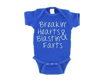 Breakin' Hearts & Blastin' Farts Baby Outfit, Crawler, Bodysuit