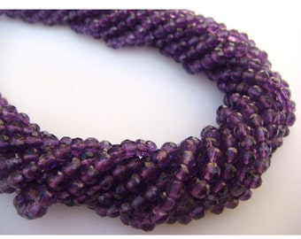 WHOLESALE 5 Strands Amethyst Rondelles Lot  - 4mm Micro Faceted Rondelles, 13 Inches Each