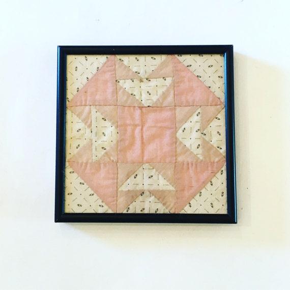 Antique Quilt Square - Framed Quilt Square - 1800s Folk Art - Antique Framed Quilt - Antique Fiber Arts