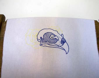 Parrot Skull - Hand Embroidered Hoop Wall Art