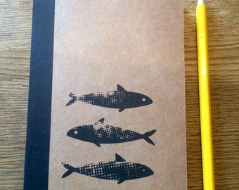 Hand printed, A6 notebook. Screen print notebook. Nature theme screen prints - dandelion, ribwort, fish, Lined notebook