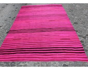 Kilim rug,300x166cm,9'8x5'4 ,Kilim,Pink Rug Rugs,Turkish rug,Turkish kilim,Handmade rug,Turkish kilim rug,Vintage Kilim,Pink kilim,1078