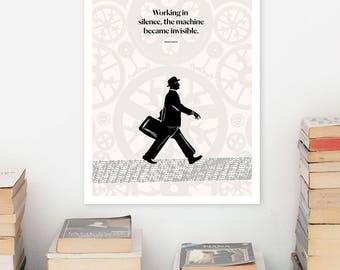 "FRANZ KAFKA ""Machine"" Literary Quote print, Art Poster, Illustration Geometric Art Print, Large Wall Art Minimalist Writer Gift for Him"