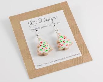 Cookie Earrings, Sugar Cookie Earrings, Christmas Earrings, Stocking Stuffer, Clay Earrings, Sugar Cookies, Miniature Food Jewelry