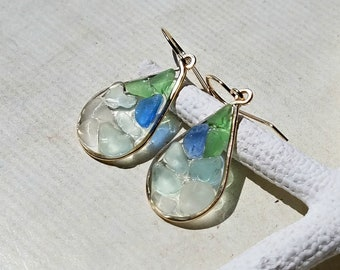Blue Green Beach Glass Drops, Ombre Sea Glass Earrings, Tiny Sea Glass Dangle Earrings