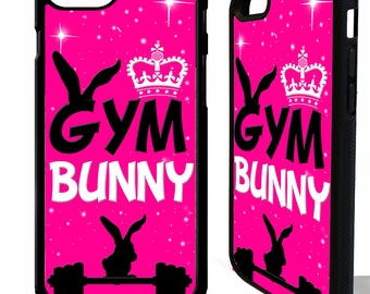 Gym Bunny exercise weight lifting fitness quote phrase pretty rubber phone case cover for iphone 4 5 5s 6 6s 7 8 8 plus X