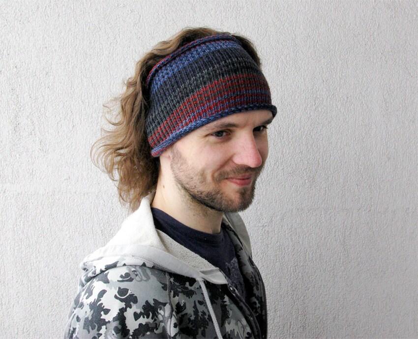 knitted mens headband guys knit hair wrap blue burgundy grey