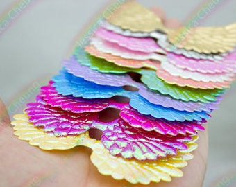 20pcs 75mm Shiny Angel Wing Appliques Metallic / Iridescent Multi Colors Glitter Cupid Angel Wing Applique Patches Fairy Dolls Embellishment