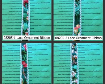"""Offray - Ribbon Treasures #4 - Lace Ornament Ribbon - 9 ft x 1 3/8"""" width - assorted designs - 1 spool - #08205"""