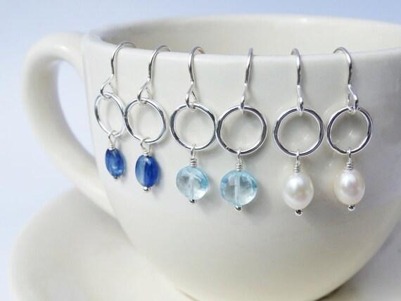 Silver Hoop & Gemstone Earrings - Sterling Silver - Pearl - Kyanite - Sky Blue Topaz