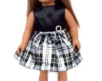 Black and Silver Doll Dress for 18 Inch Dolls, Party Dress, Christmas Dress, 18 Inch Doll Clothes