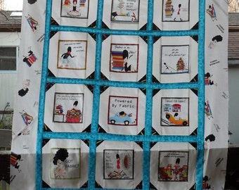 Ready 2 Quilt /OFAK with Quilter in Mind/Unfinished Novelty FABRIC FANATICS Quilt Top/Anthology Fabrics Quilt Top/100 Percent Cotton