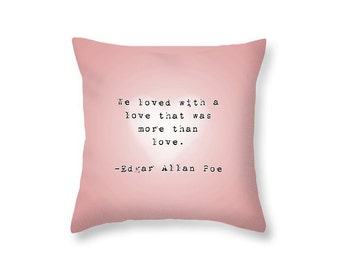 Love Pillow Typography Pillow - Pink Decorative Pillow Pink Pillow Love Quote Pillow - Book Quote Pillow Gift for Wife Gift for Boyfriend