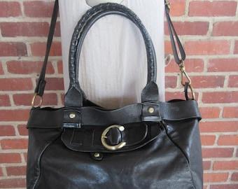 Glazed Leather Satchel, Black Leather Crossbody Bag Purse Tote Handbag Vintage Large XL 90s 1990s