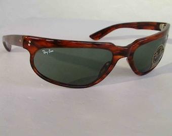 New Vintage B&L Ray Ban Fugitives Modified Aviator Tortoise G-15 W1956 Wrap Sunglasses nos
