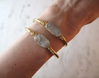 White Druzy Cuff | Cuff Bracelet |  Druzy Cuff | Bridesmaid Bracelet | Cuff Bracelet | Bridesmaids Cuff