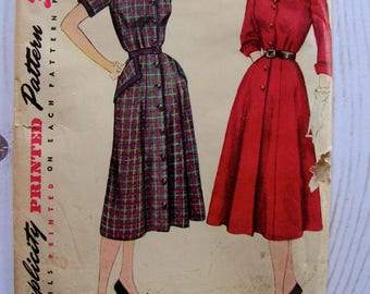 1950s Tailored Dress | Misses 14.5 Bust 33 | Simplicity 3707 | cut used complete vintage sewing pattern