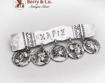 Ancient Greek Medallion Pin Brooch Shiebler Sterling Silver 1880