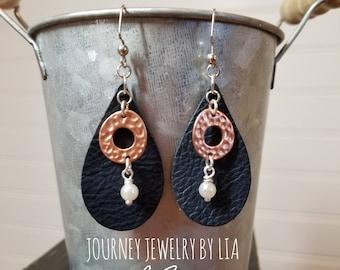 Leather Teardrop (small) Earrings Copper+Pearl