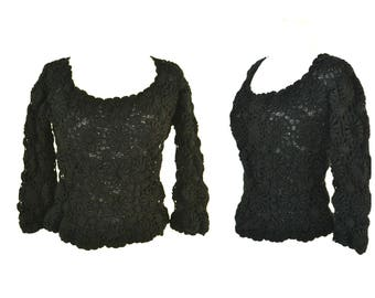 1960s Black Wool Three Quarter Sleeve Knit Pullover Sweater by Gimbels