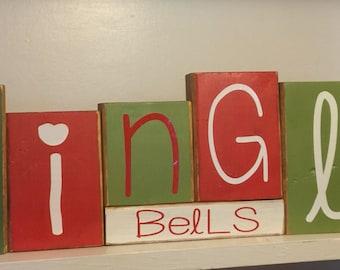 Jingle Bells Give Thanks Reversible blocks, Thanksgiving decor, Christmas decor , holiday decorations , reversible blocks, 2-sided wood bloc