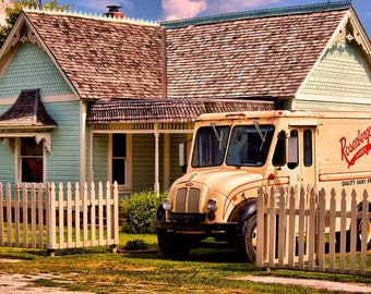 House with Milk truck, Fine Art Photography, Color Photography, Architectural Photography
