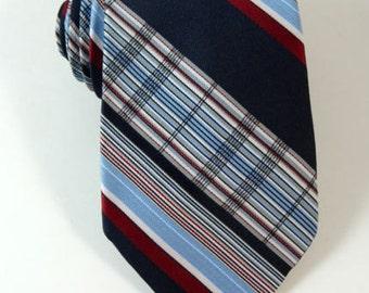 Vintage Tie Monsieur Pierre Striped Navy Blue Red Necktie