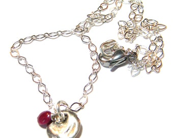 Ruby Charm Necklace, Silver Charm Necklace, Charm Necklace, Ruby Necklace, Silver Chain Necklace
